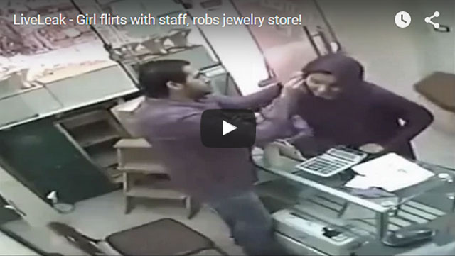 Girl flirts with staff, robs jewelry store!