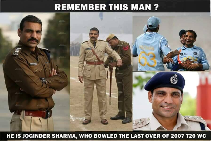 Joginder Sharma Hero of 2007 T20 World cup now DSP in Haryana Police.